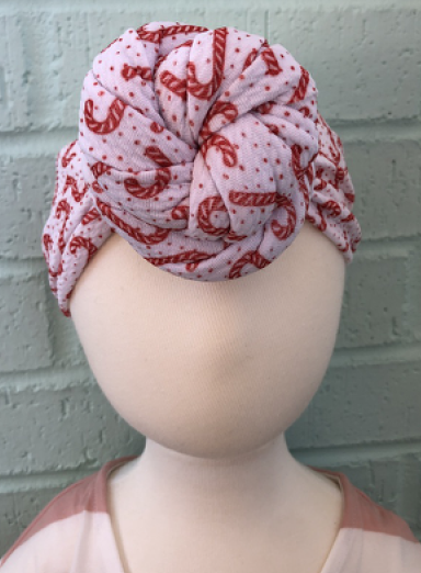 Candy Cane Top Knot Headband