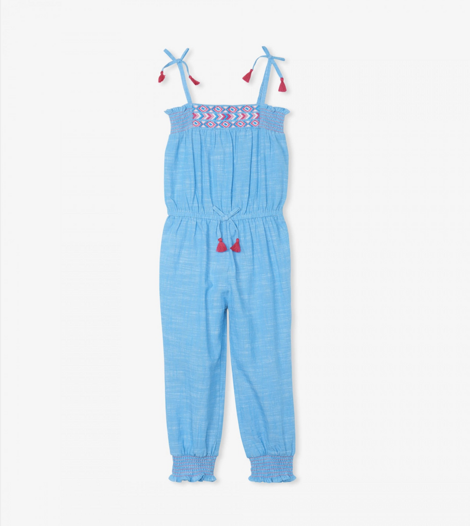 Chambray Smocked Jumpsuit