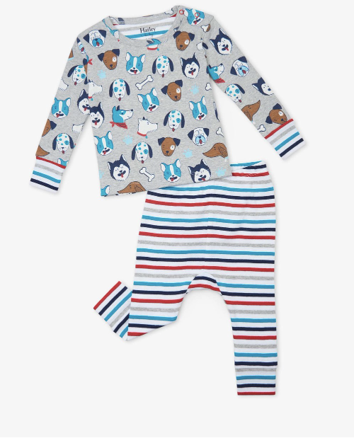Cute Pups Organic Cotton Baby Pajamas Set
