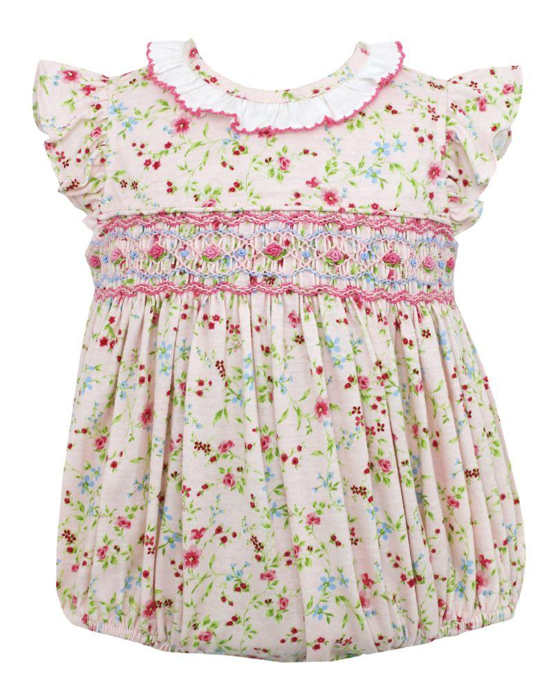 English Floral Smocked Knit Bubble