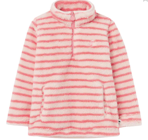 Pink Stripe Fleece Pullover
