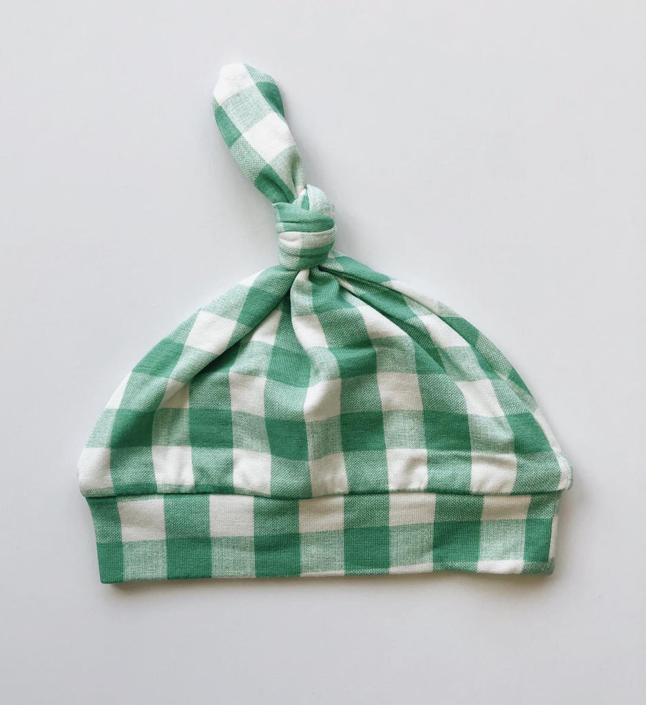 Green Gingham Knotted Hat