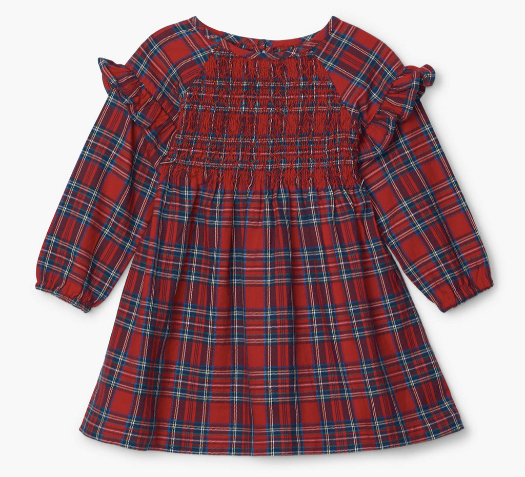 Holiday Plaid Baby Smocked Party Dress