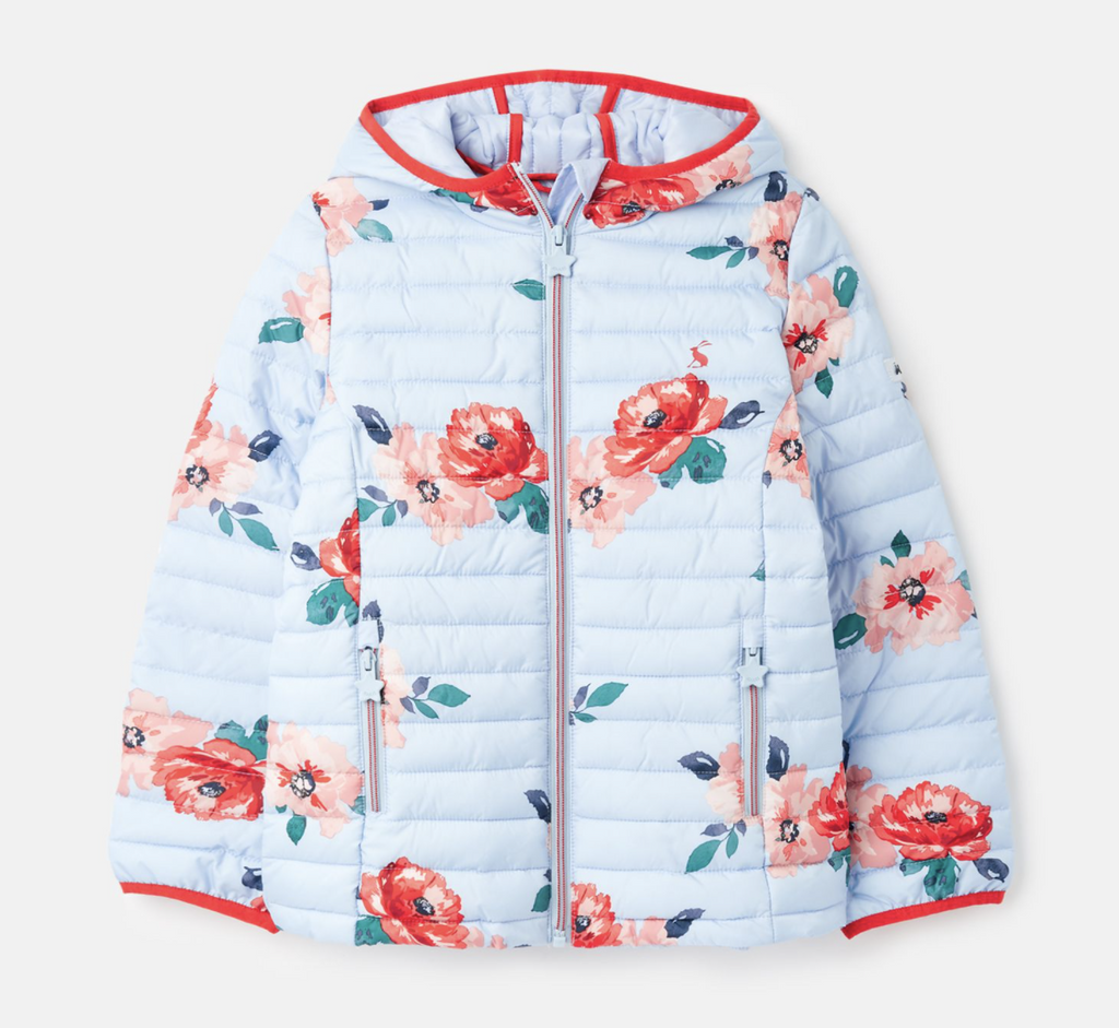 Joules: Blue Floral Puffy Coat
