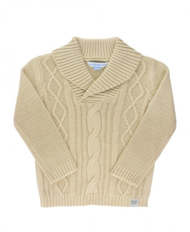 Khaki Cable Knit Collar Sweater