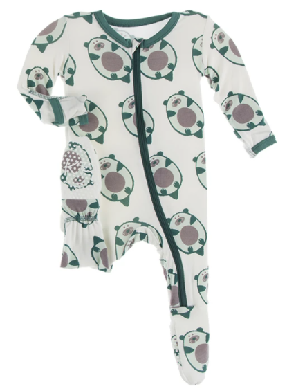 Kickee: Natural Ottercado Print Footie with Zipper