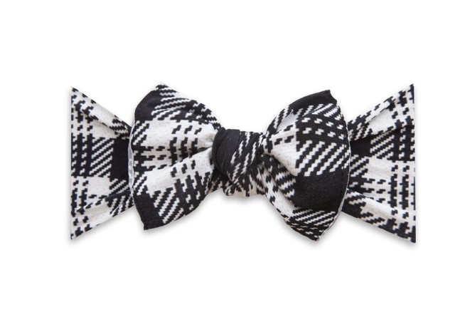 Knitted Plaid Knot Bow