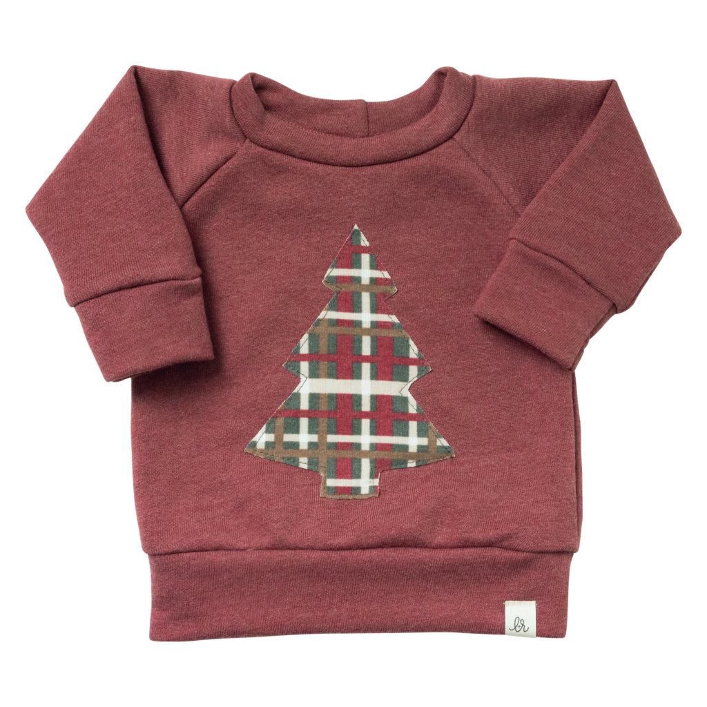 Maroon Plaid Tree Sweater