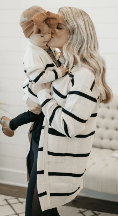 Mommy Cream & Black Stripe Cardigan
