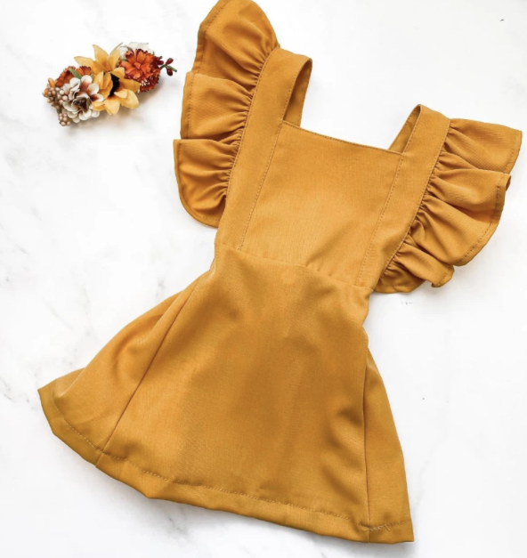 Mustard Suspender Dress