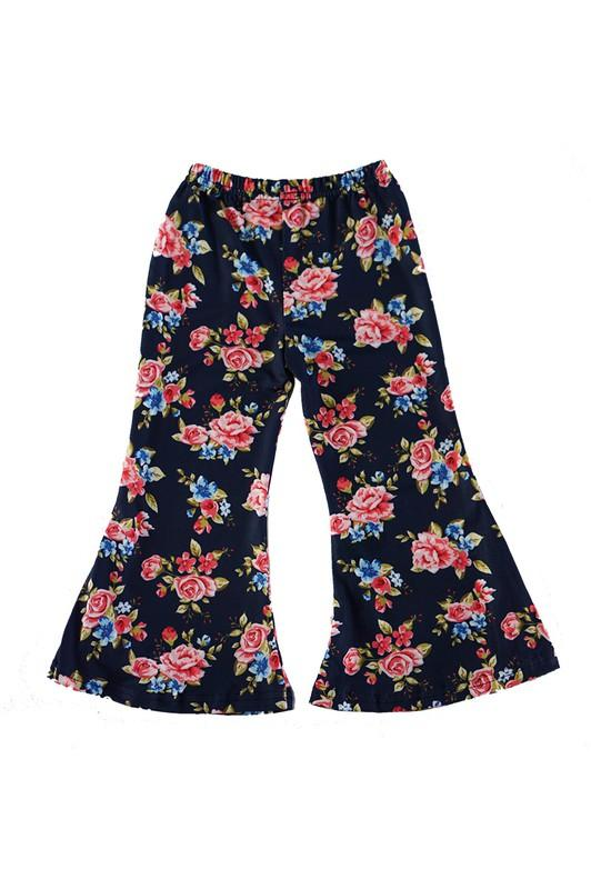 Navy Floral Bell Bottoms