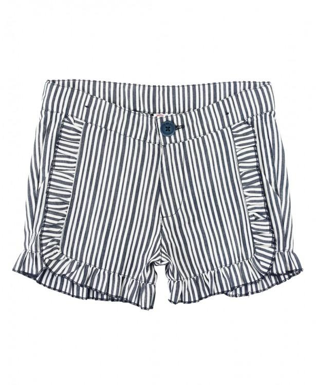 Navy Stripe Ruffle Shorts