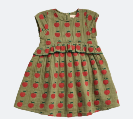 Pink Chicken: Olive Green Apple Dress