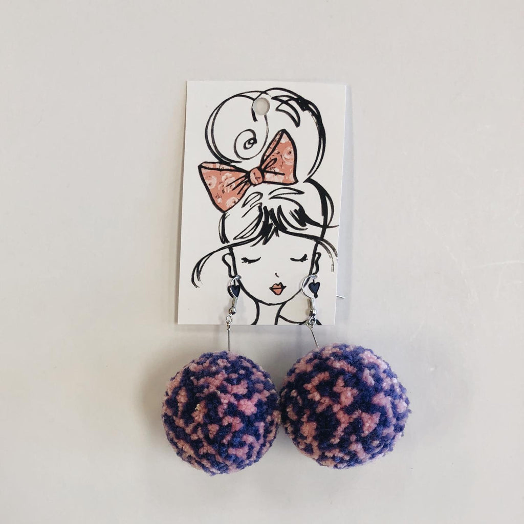 Pink & Purple Pom Earrings