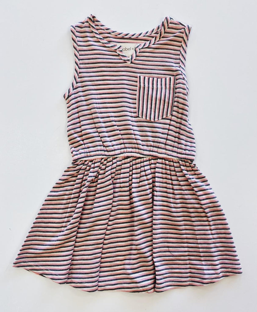 Pink Stripe Sleeveless Dress