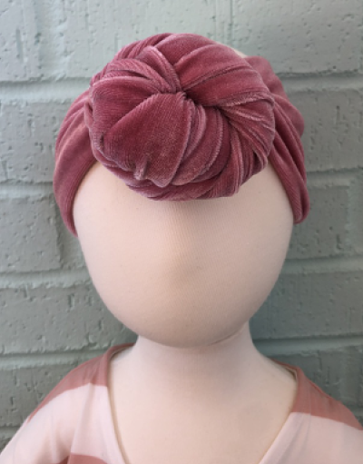 Pink Velvet Top Knot Headband