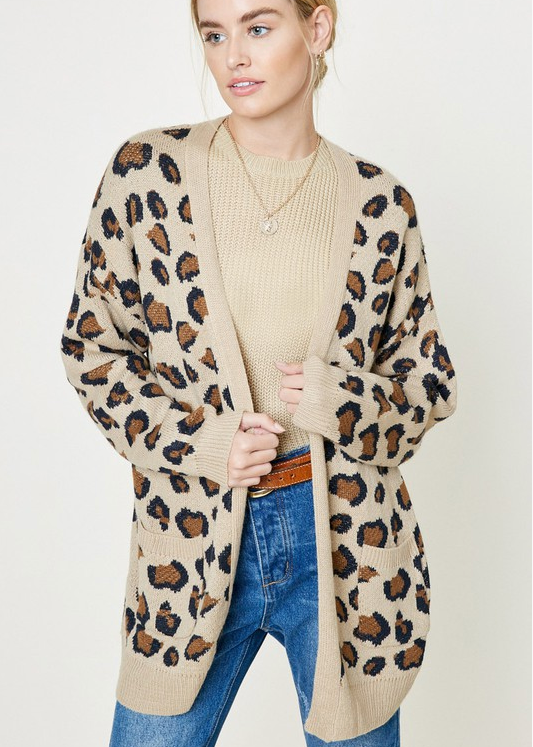 Mommy Tan Leopard Cardigan