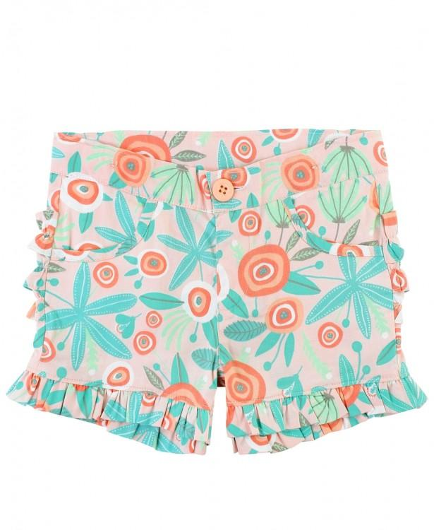 Seaside Floral Ruffle Shorts