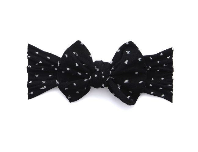 Shabby Black Dot Knot Bow