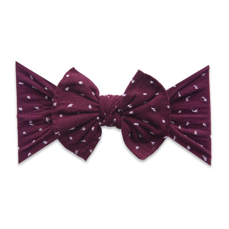 Shabby Burgundy Dot Knot Bow