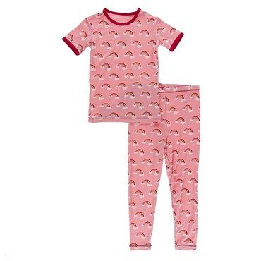 KicKee Pants: Strawberry Rainbows Short Sleeve PJ Set