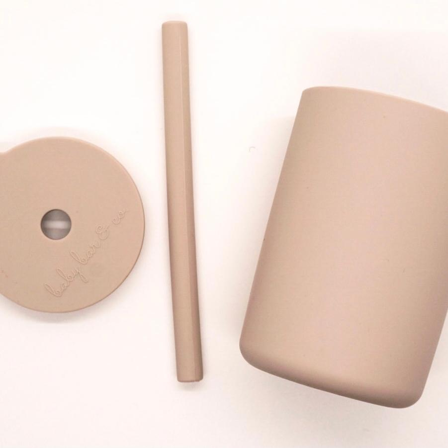Taupe Silicone Cup with Straw
