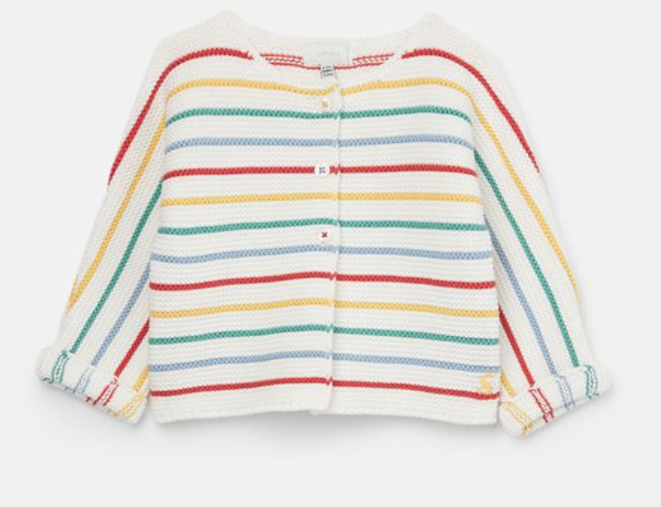 White Multi Stripe Knit Cardigan