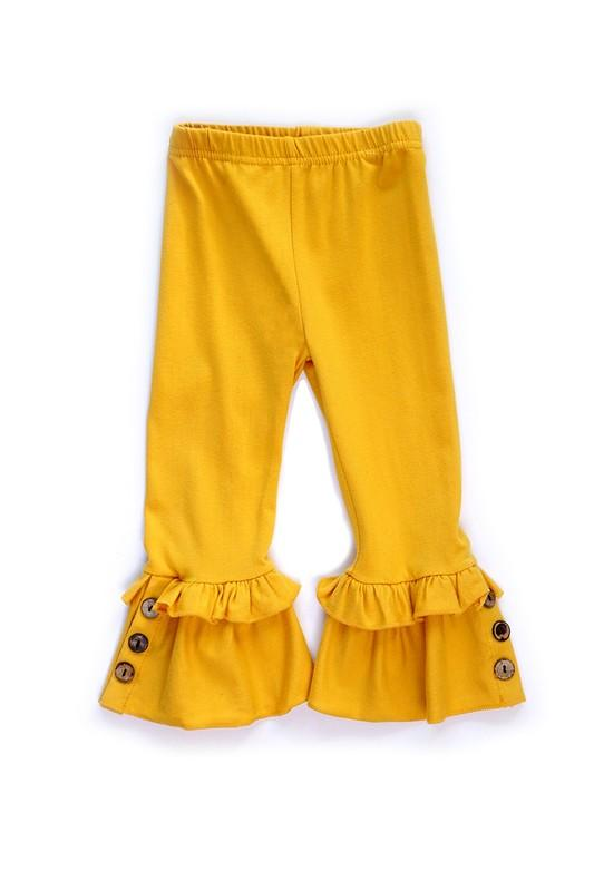 Yellow Button Ruffle Pants