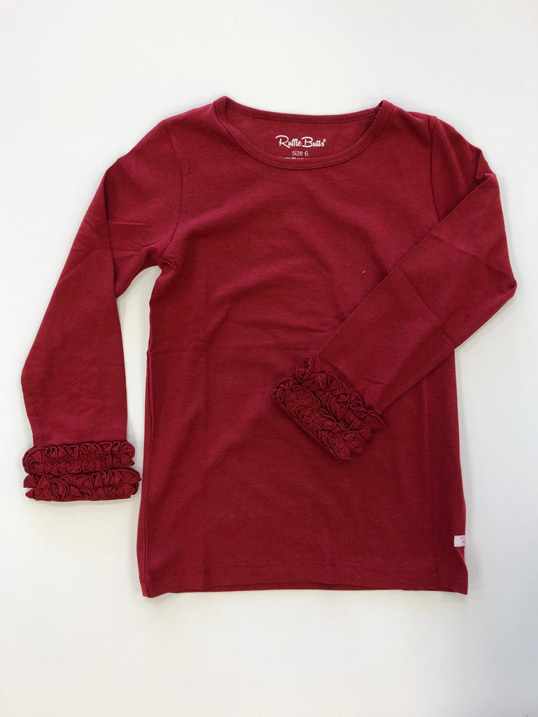 Cranberry Ruffle Long Sleeve Top