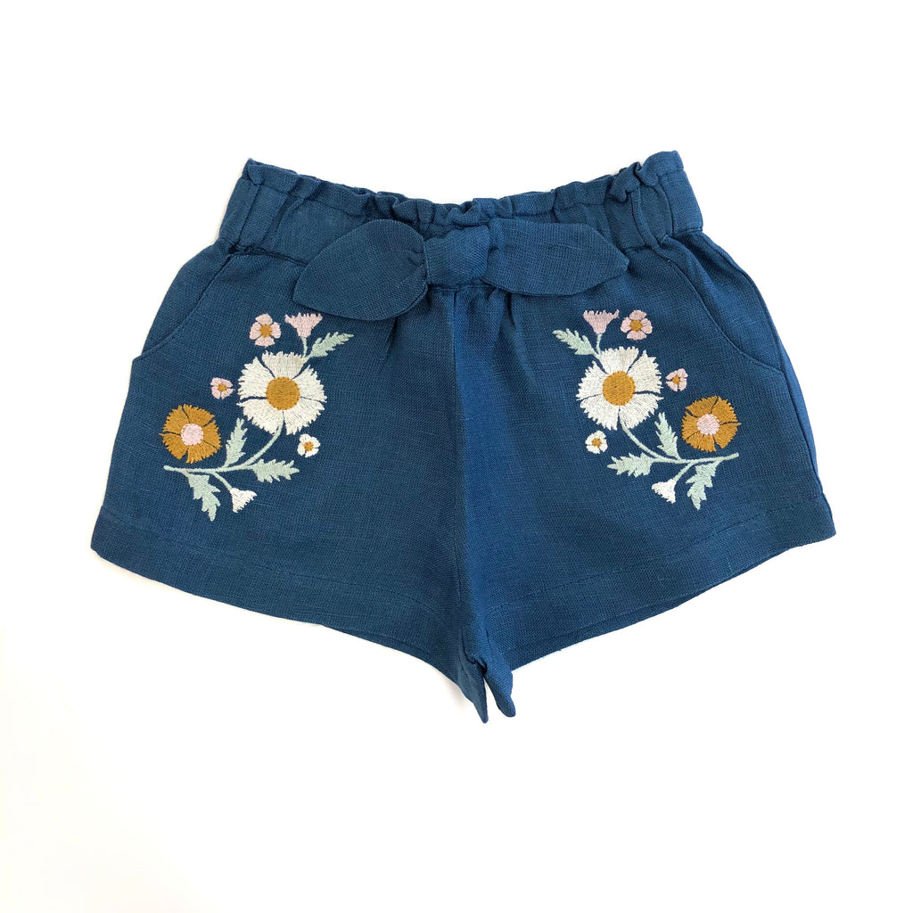 Blue Embroidery Shorts