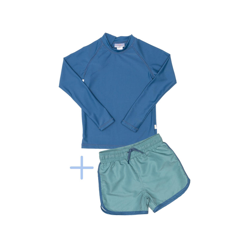Blue Rashie Plus Green Swim Shorts