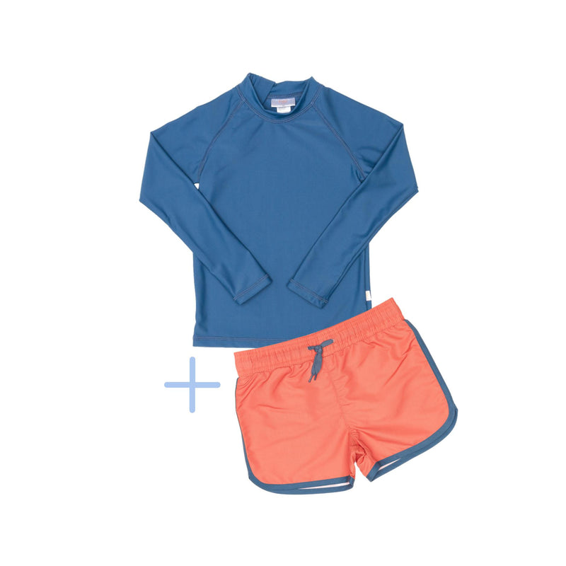 Blue Rashie Plus Red Swim Shorts