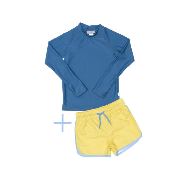 Blue Rashie Plus Yellow Swim Short