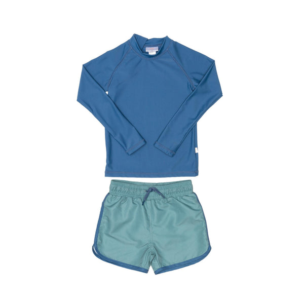 Blue Rashie and Green Swim Shorts