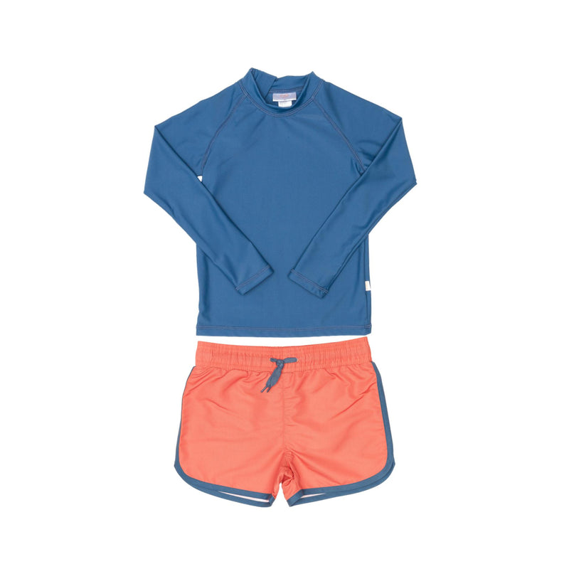 Blue Rashie and Red Swim Shorts