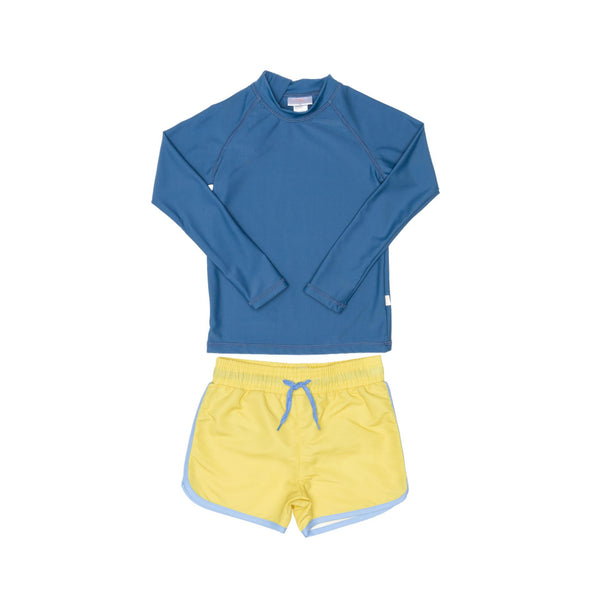 Blue Rashie and Yellow Swim Short