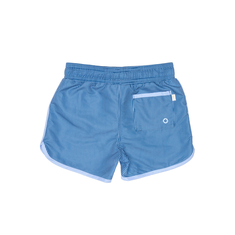 Blue striped Swim Shorts with back pocket