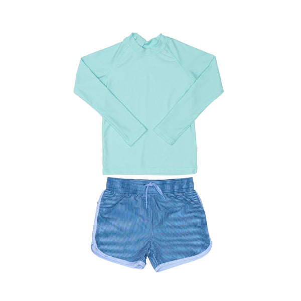 Green Rashie and Blue Swim Short