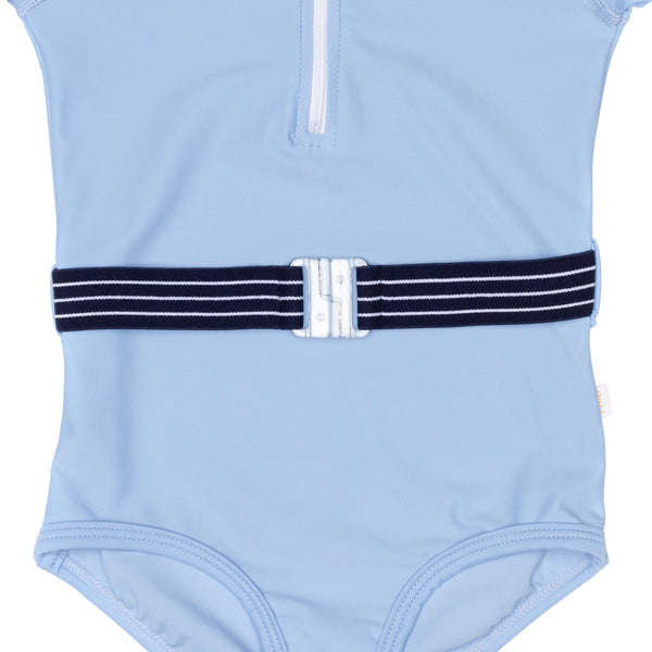 Blue Lagoon One Piece Swimsuit Girls With Belt Accessory