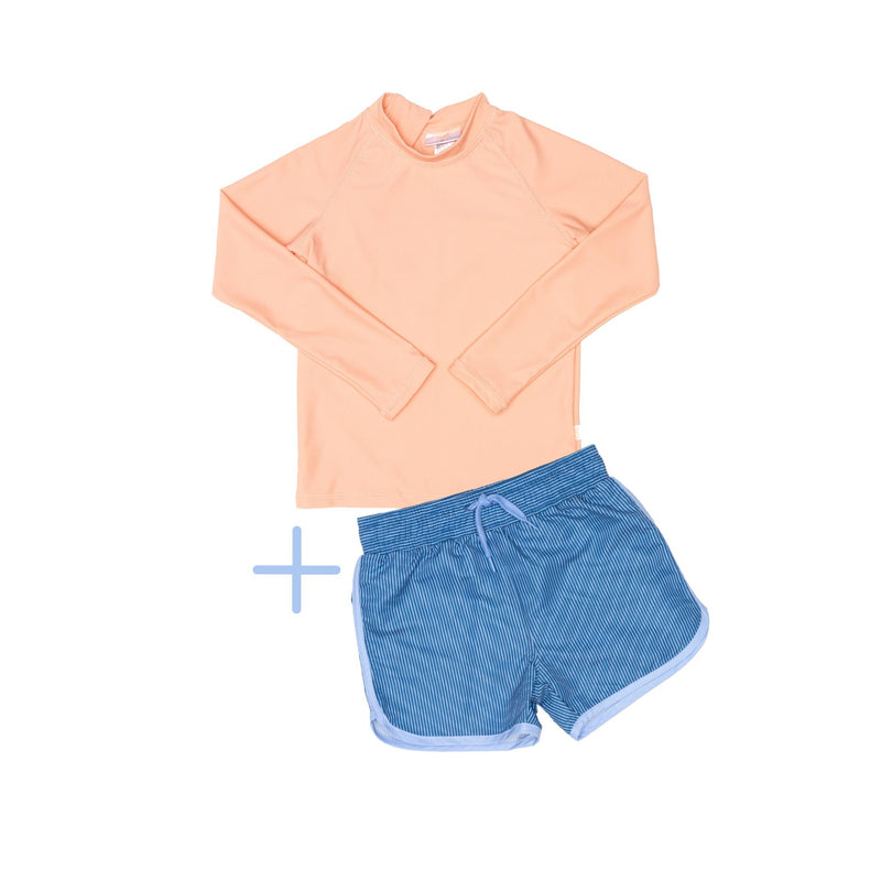 Peach Rashie plus Blue Shorts