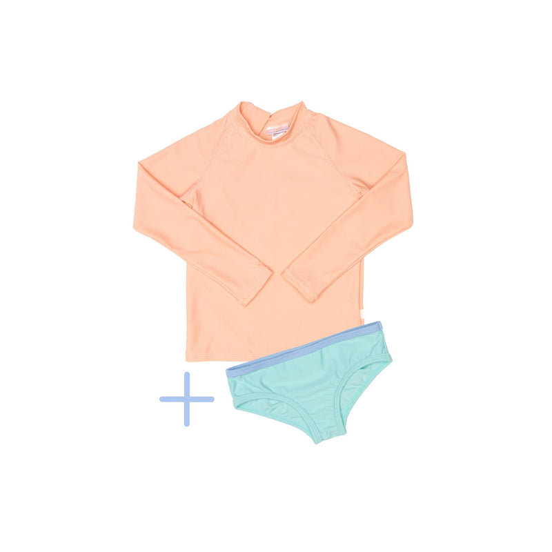 Peach rashie plus green swim brief