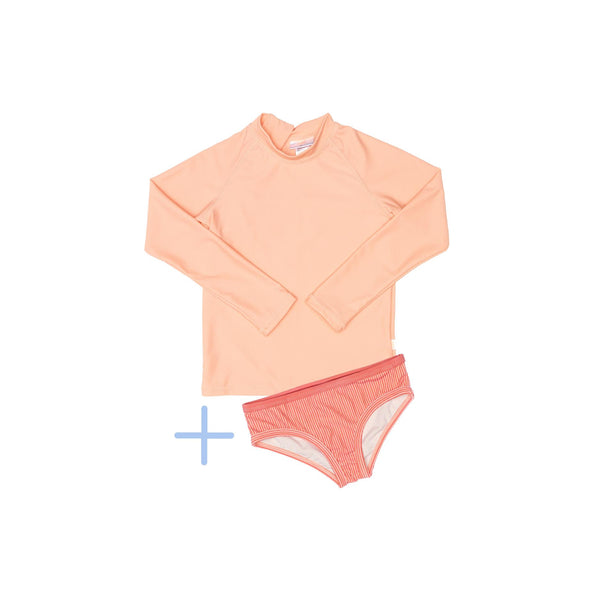 Peachie rash guards plus pink swim briefs