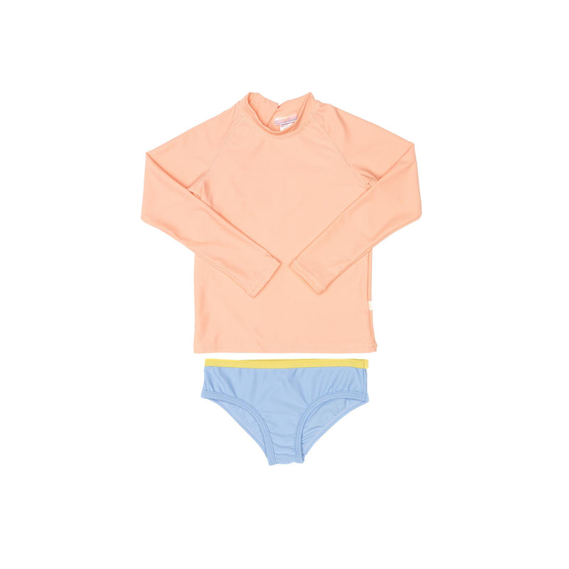 Peach rashie and blue swim brief