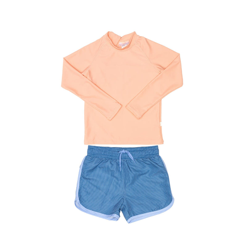 Peach Rashie and Blue shorts