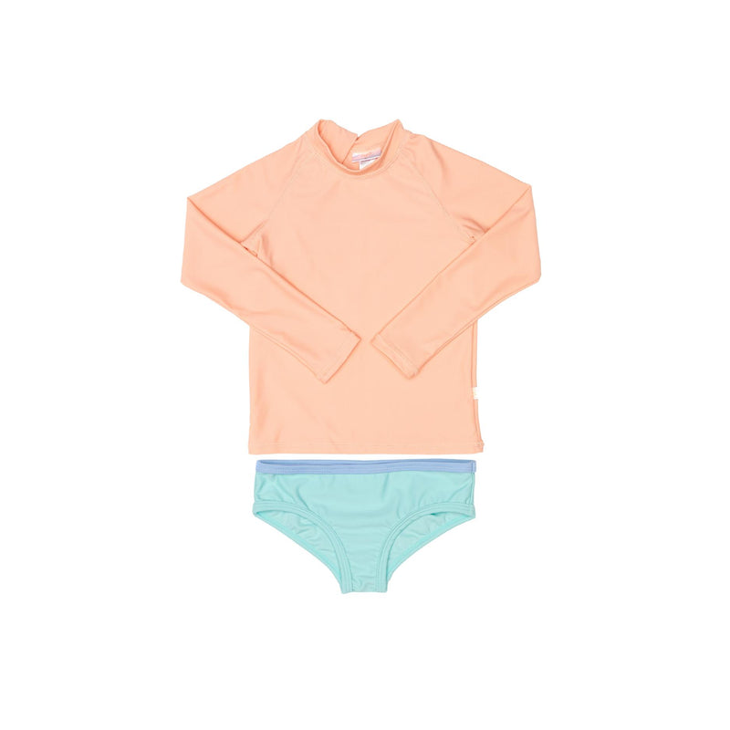 Peach rashie and green swim brief