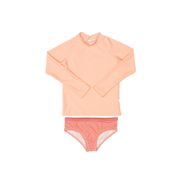 Peachie rash guards and pink swim briefs