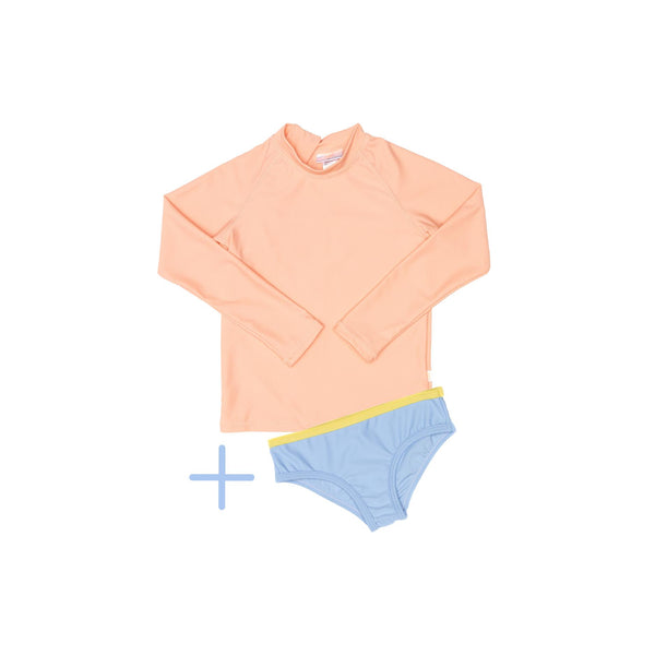 Peach rashie plus blue swim brief