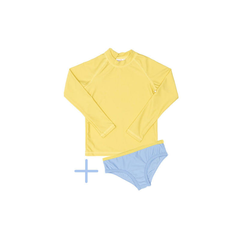 Yellow Rashie Plus Blue Swim Brief