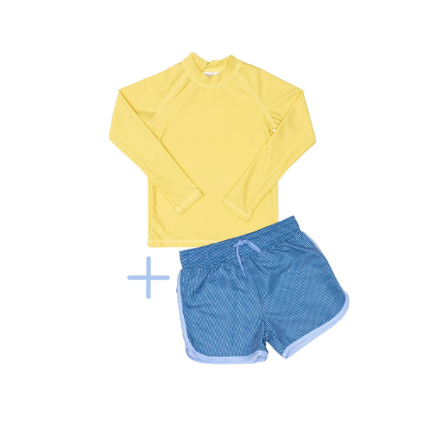 Yellow Rashie Plus Blue Swim Shorts