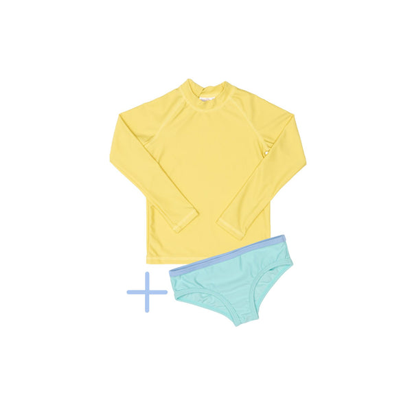 Yellow Rashie Plus Green Swim Brief
